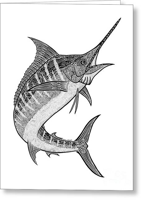 Tropical Beach Drawings Greeting Cards - Tribal Marlin III Greeting Card by Carol Lynne