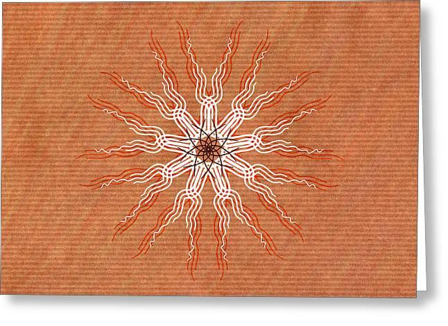 Autumn Mandala Greeting Cards - Tribal Pattern Mandala 2 Greeting Card by Hakon Soreide