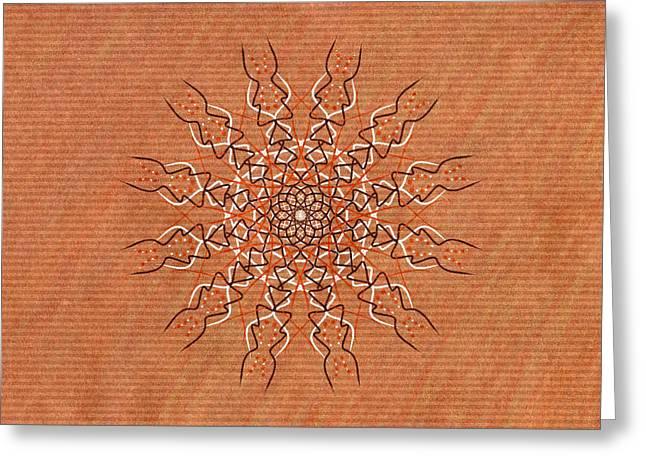 Autumn Mandala Greeting Cards - Tribal Pattern Mandala Greeting Card by Hakon Soreide