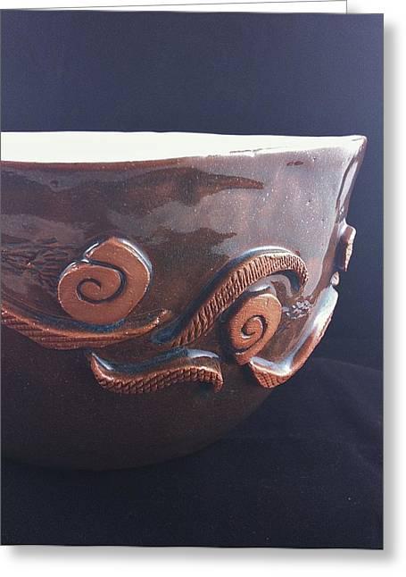 Bowl Ceramics Greeting Cards - Tribal Song 2 Greeting Card by Lisa Codella