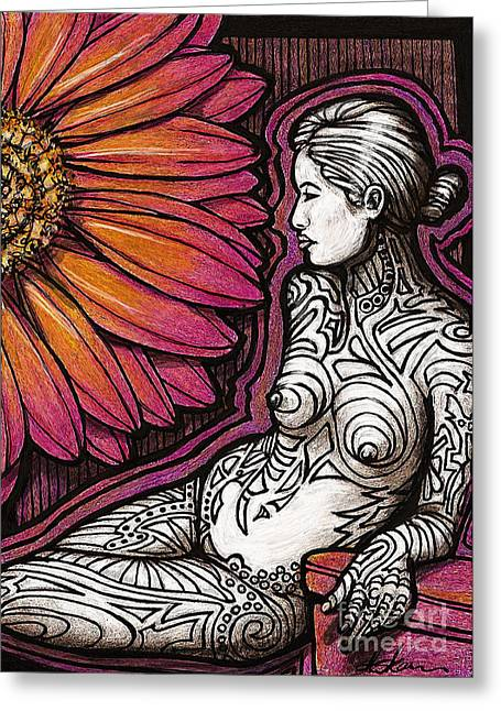 Dk Pink Greeting Cards - Tribal Tat Nude Greeting Card by Dorinda K Skains