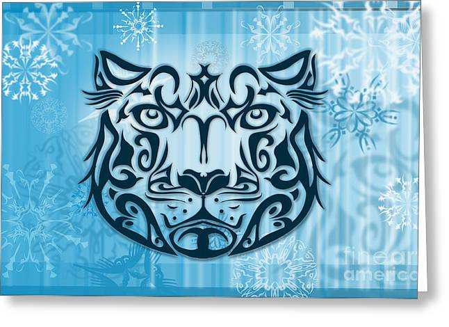 Snowflake Greeting Cards - Tribal tattoo design illustration poster of Snow Leopard Greeting Card by Sassan Filsoof