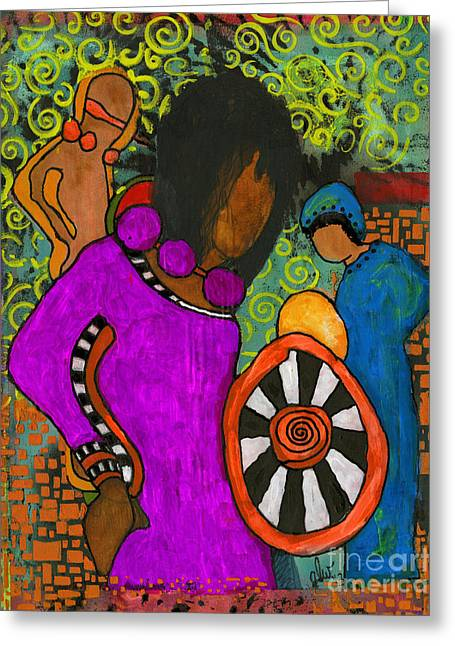 Survivor Art Greeting Cards - Tribal Trio Greeting Card by Angela L Walker