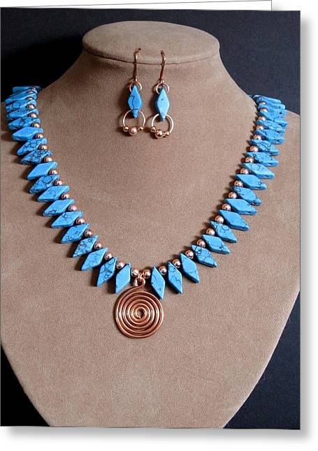 Gold Necklace Mixed Media Greeting Cards - Tribal Turquoise  SOLD Greeting Card by Jan Brieger-Scranton