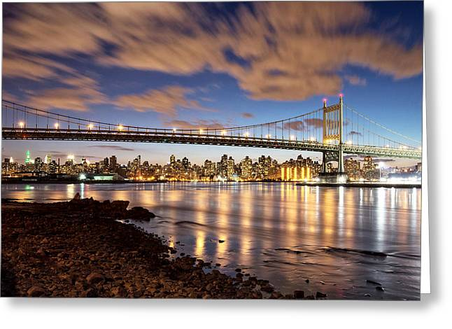 Night Scenes Greeting Cards - Triboro at Night Greeting Card by Vicki Jauron