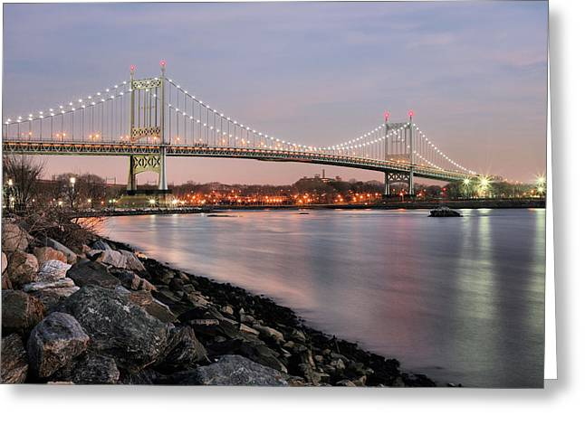 Harlem River Greeting Cards - Triboro Nights Greeting Card by JC Findley