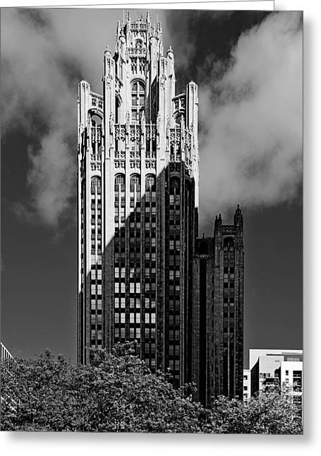 Interior Scene Greeting Cards - Tribune Tower 435 North Michigan Avenue Chicago Greeting Card by Christine Till