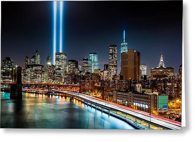 Fdr Drive Greeting Cards - Tribute in Light memorial Greeting Card by Mihai Andritoiu