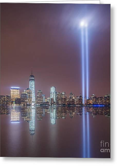 Reflections Of Sky In Water Greeting Cards - Tribute in Light Greeting Card by Michael Ver Sprill