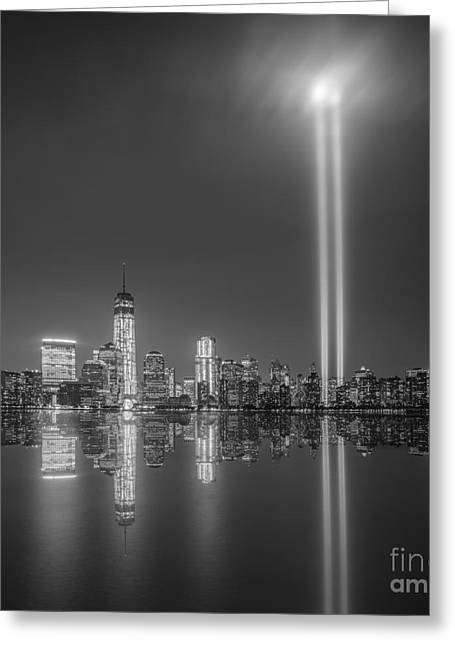 Reflections Of Sky In Water Greeting Cards - Tribute in Light Reflection Greeting Card by Michael Ver Sprill