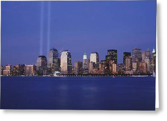 September 11 Greeting Cards - Tribute In Light, World Trade Center Greeting Card by Panoramic Images