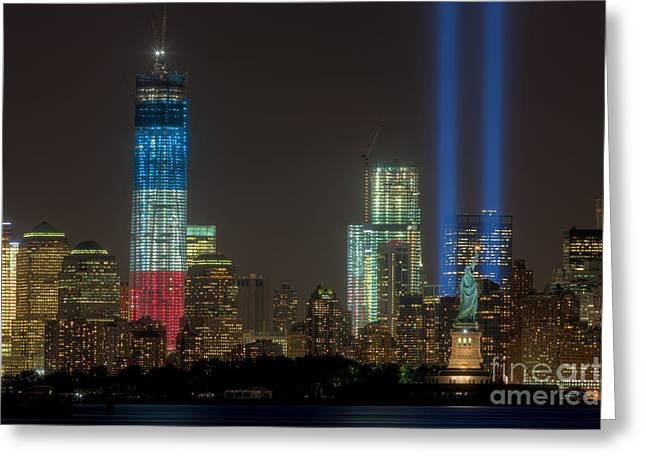 9-11 Greeting Cards - Tribute in Light XIII Greeting Card by Clarence Holmes