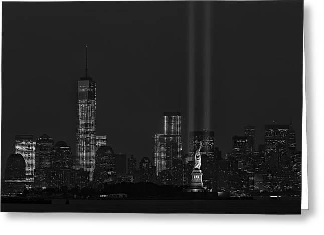 Statue Of Liberty Greeting Cards - Tribute In Lights 2013 BW Greeting Card by Susan Candelario