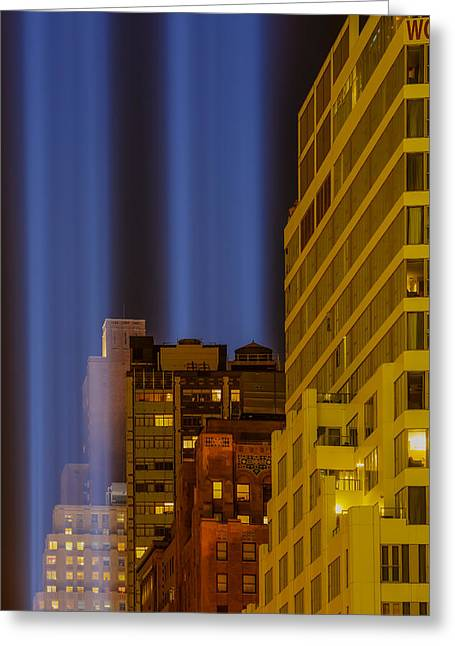 Wtc 11 Greeting Cards - Tribute In Lights 911 WTC NYC Greeting Card by Susan Candelario