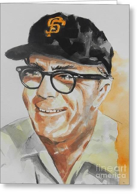 Baseball Print Paintings Greeting Cards - Tribute To Edward Logan My Grandfather  Greeting Card by Chrisann Ellis
