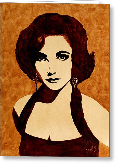 Liz Taylor Greeting Cards - Tribute to Elizabeth Taylor coffee painting Greeting Card by Georgeta  Blanaru