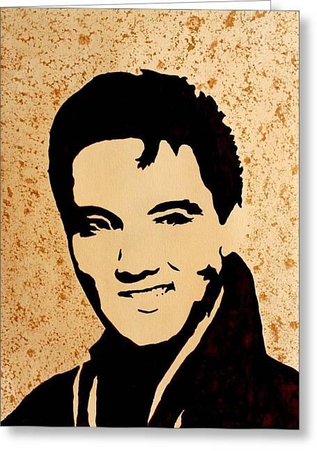 Tribute To Elvis Presley Greeting Card by Georgeta  Blanaru