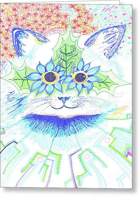 Cat Eyes Drawings Greeting Cards - Tribute to Louis Wain Greeting Card by Ty DAvila