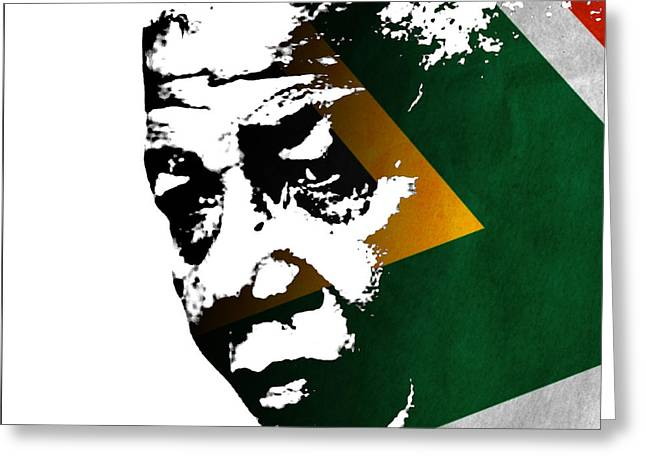 Rudi Prott Greeting Cards - tribute to Nelson Mandela Greeting Card by Rudi Prott