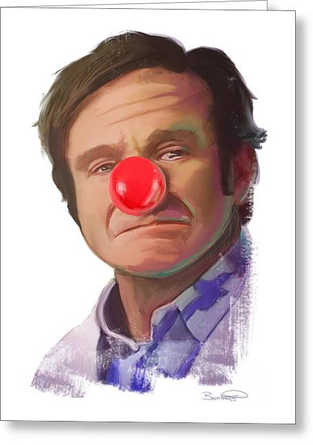 Comedian Greeting Cards - Tribute to Robin Williams Greeting Card by Brett Hardin