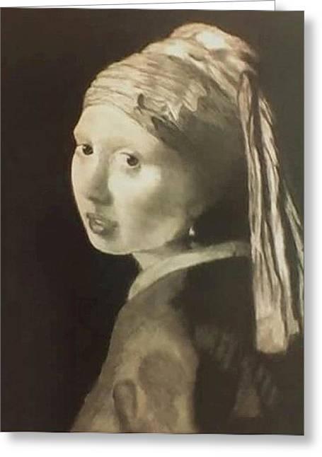 Jan Vermeer Drawings Greeting Cards - Tribute to Vermeer Homenaje a Jan Vermeer Greeting Card by Fernando A Hernandez