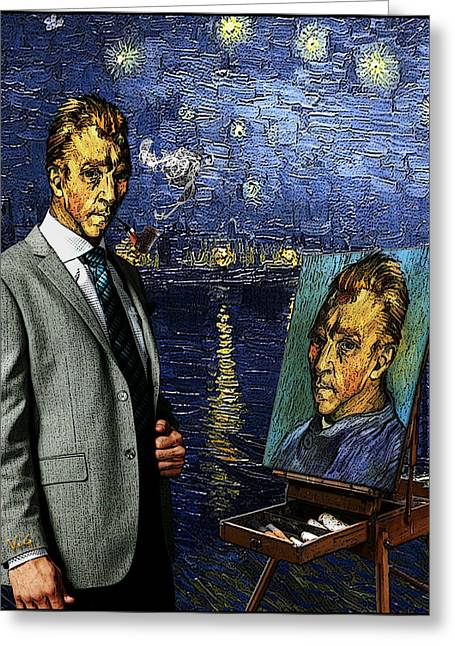 Pa Drawings Greeting Cards - Tribute to Vincent Van Gogh - At the Rhone River Posing with his Self-Portrait. Greeting Card by Jose A Gonzalez Jr