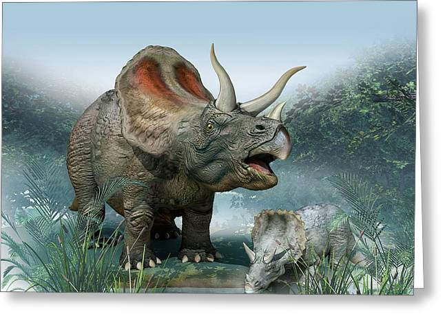 Triceratops Old And Young Greeting Card by Mikkel Juul Jensen