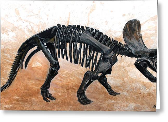 Triceratops Greeting Cards - Triceratops skeleton Greeting Card by Harm  Plat