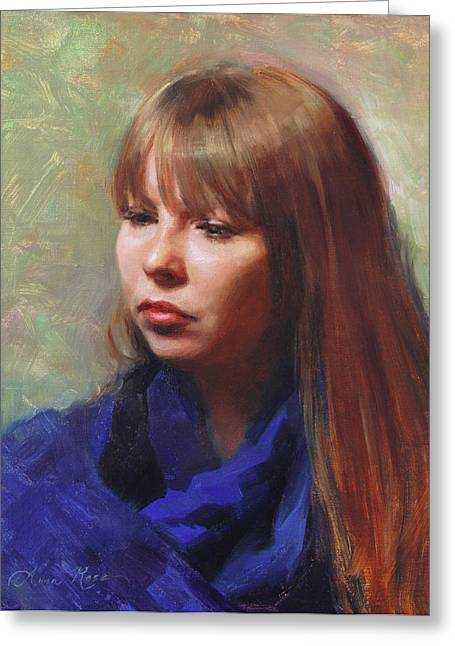 Portraits Oil Greeting Cards - Tricia Greeting Card by Anna Bain