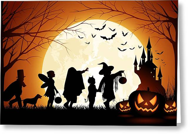 Carved Greeting Cards - Trick or Treat Greeting Card by Gianfranco Weiss
