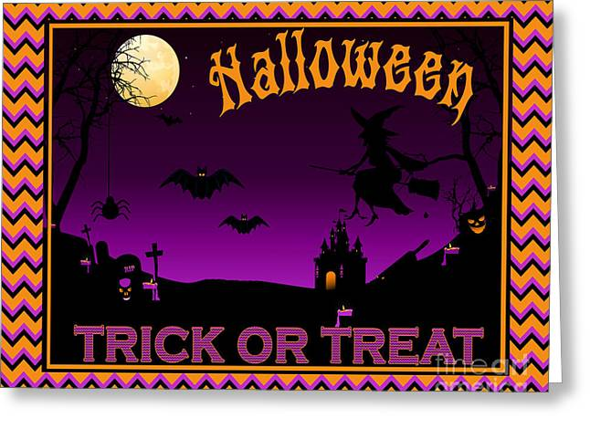Witch Cat Greeting Cards - Trick or Treat-B Greeting Card by Jean Plout