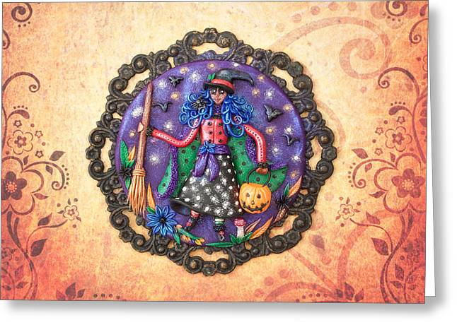 Pumpkins Reliefs Greeting Cards - Trick or Treat Greeting Card by Deidre Dreams