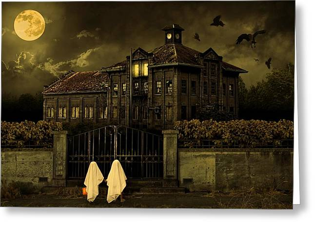 Trick-or-treat Greeting Cards - Trick or Treat Halloween House Greeting Card by Movie Poster Prints