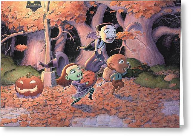 Flying Witch Greeting Cards - Trick or Treat Greeting Card by Richard Moore