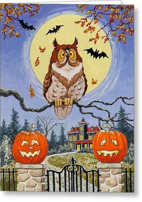Haunted House Paintings Greeting Cards - Trick or Treat Street Greeting Card by Richard De Wolfe