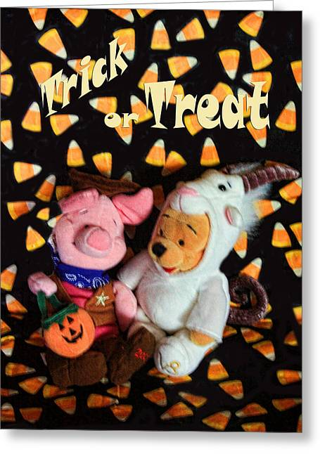 Piglets Greeting Cards - Trick or Treat with Pooh Greeting Card by Linda Phelps