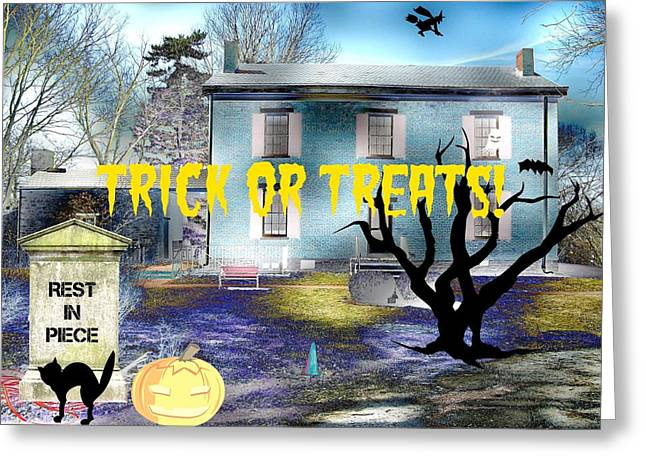 """haunted House"" Mixed Media Greeting Cards - Trick or Treats Haunted House Greeting Card by Skyler Tipton"