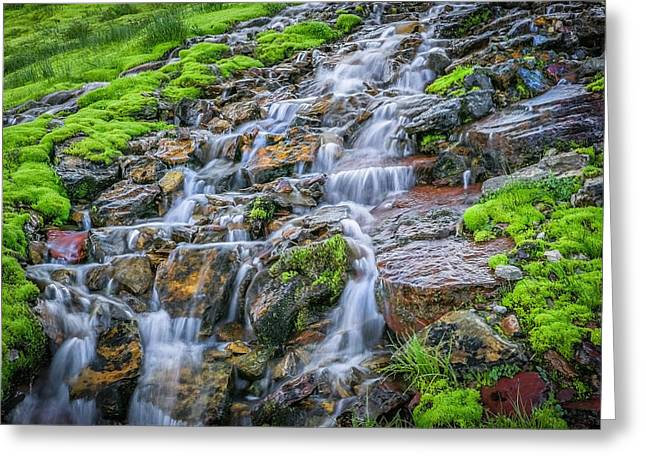 Clean Water Greeting Cards - Trickle Trickle 2 Waterfall Glacier National Park Greeting Card by Rich Franco