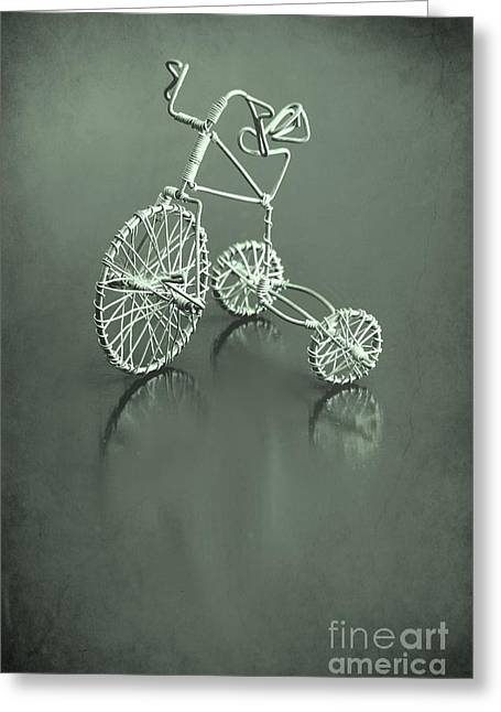 Still Life Photographs Greeting Cards - Tricycle in Green Greeting Card by Sophie Vigneault