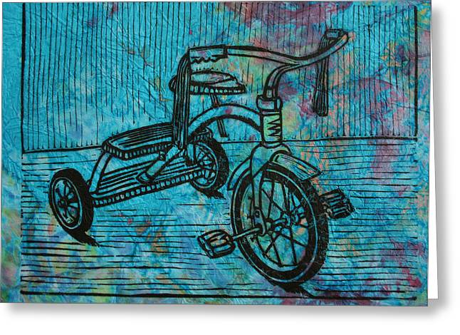 Lino Print Greeting Cards - Tricycle Greeting Card by William Cauthern
