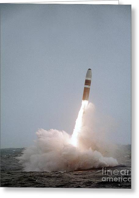 Deterrent Greeting Cards - Trident Missile Test Launch Greeting Card by Us Air Force