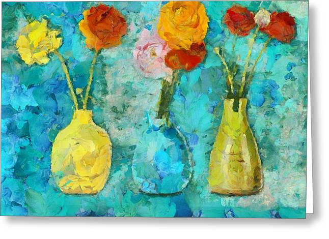 Flower Still Life Greeting Cards - Triflorus - d11b Greeting Card by Variance Collections