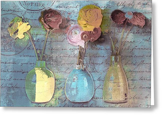 Flower Still Life Greeting Cards - Triflorus - s02ac4 Greeting Card by Variance Collections