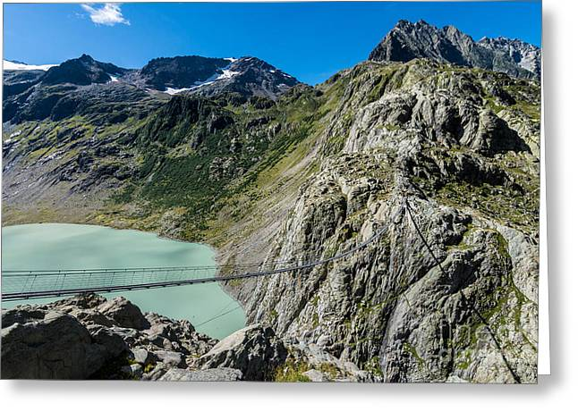 Swiss Photographs Greeting Cards - Triftsee Suspension Bridge - Gadmen - Switzerland Greeting Card by Gary Whitton