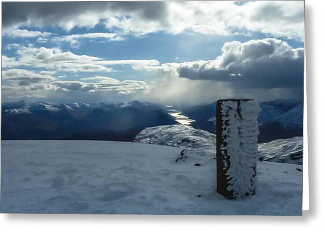 Snow Cornice Greeting Cards - Trig point on Gulvain Greeting Card by Anatole Beams