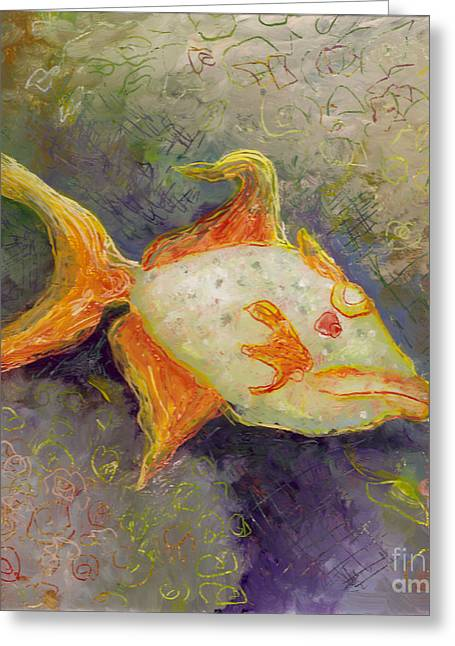 Under The Ocean Glass Art Greeting Cards - Triggerfish Greeting Card by Anna Skaradzinska