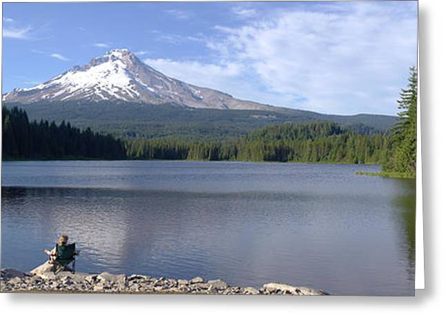 Shades State Park Greeting Cards - Trillium Lake and Mt Hood panorama Oregon. Greeting Card by Gino Rigucci