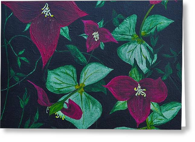 Trilliums Greeting Card by Sally Rice