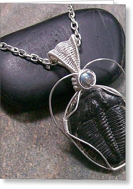 Jordan Jewelry Greeting Cards - Trilobite Fossil and Labradorite Pendant TRIL22 Greeting Card by Heather Jordan