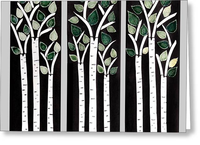 Birch Tree Ceramics Greeting Cards - Trilogy of Birches Greeting Card by Janet Gadallah